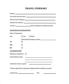 9 blank travel itinerary templates free sle exle