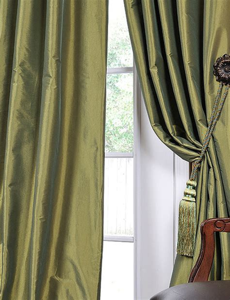 faux silk green curtains fern green solid faux silk taffeta 96 inch curtain panel