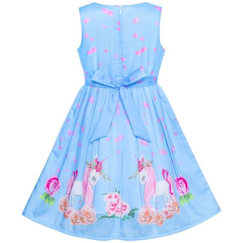 girls dress blue unicorn flower summer sundress sunny