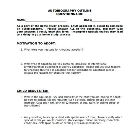 template for autobiography autobiography outline template 17 free word pdf