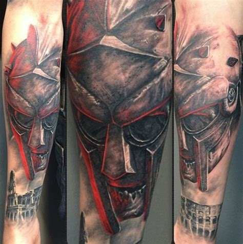 creepy looking zombie gladiator warrior tattoo on forearm