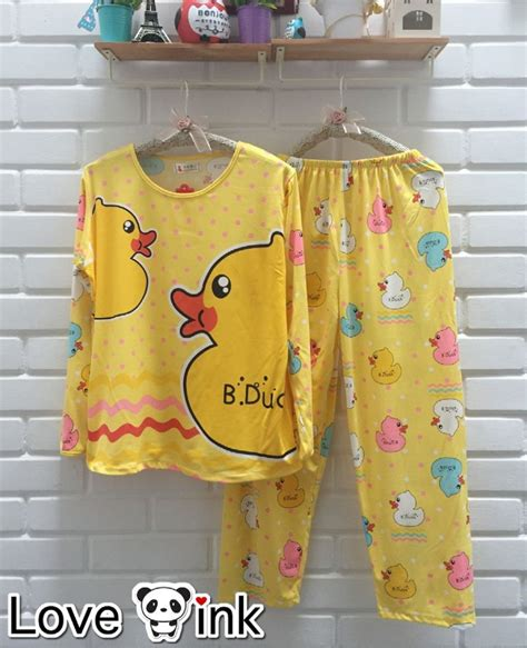 Baju Tidur Wanita Setelan Yellow jual baju tidur setelan lengan panjang piyama lucu