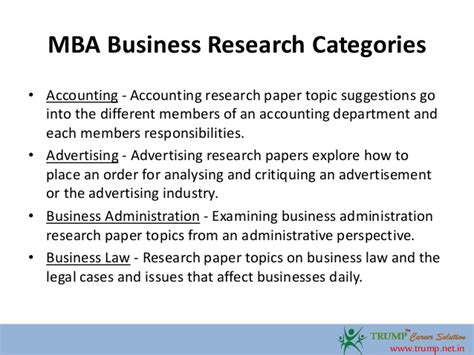 Mba Project Management Business Topics by Mba Business Research Paper Topics