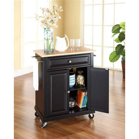 crosley furniture wood top portable kitchen cart
