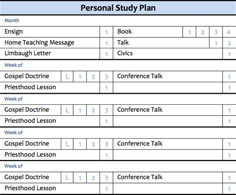 study plan template something to reed personal study plan