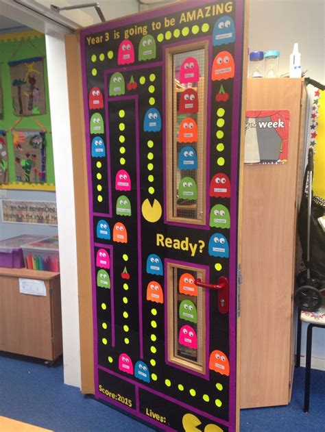 new year class decorations pacman themed classroom door display for the new class