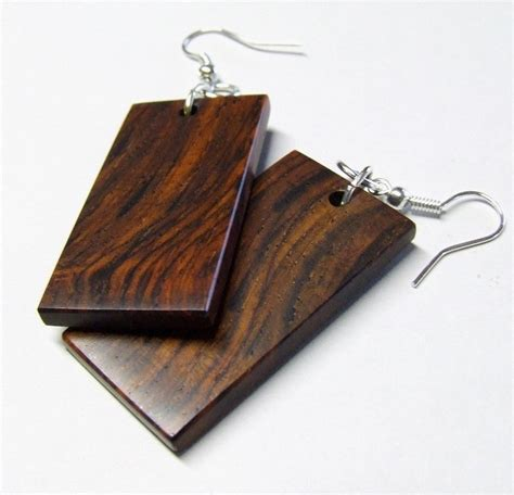 Handmade Wooden Earrings - wood earrings handmade cocobolo rosewood earrings