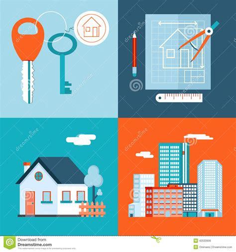 design home icon retro real estate symbols private house stock vector