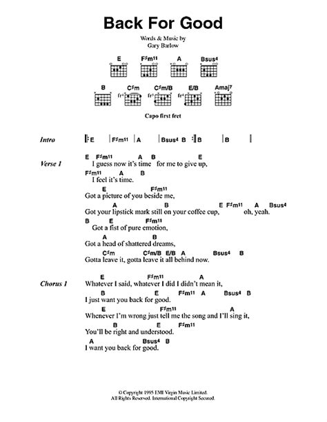 back for good back for good sheet music by take that lyrics chords