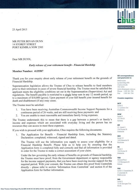 Financial Hardship Letter Centrelink attention cbus membes re my attempts to access vide hardship s space