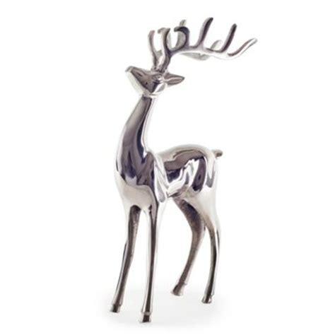 buy large polished aluminium standing deer stag christmas