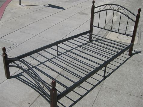 wood and metal bed frame uhuru furniture collectibles sold wood metal twin
