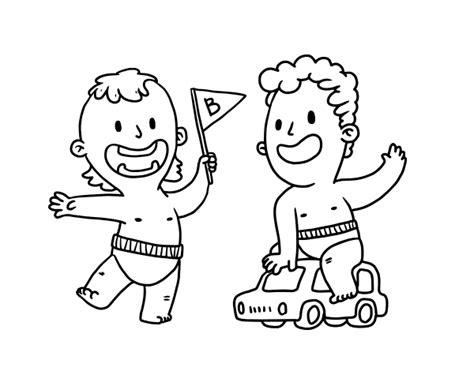 imagenes de unos niños dibujo de unos ni 241 os jugando para colorear dibujos net
