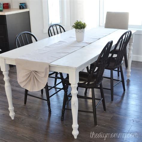 painted kitchen table sew a shabby chic pleated table runner from a drop cloth the diy