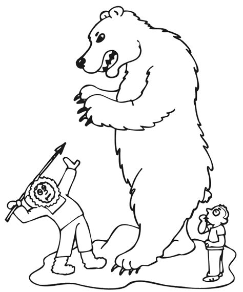 hibernating bear coloring sheet sketch coloring page
