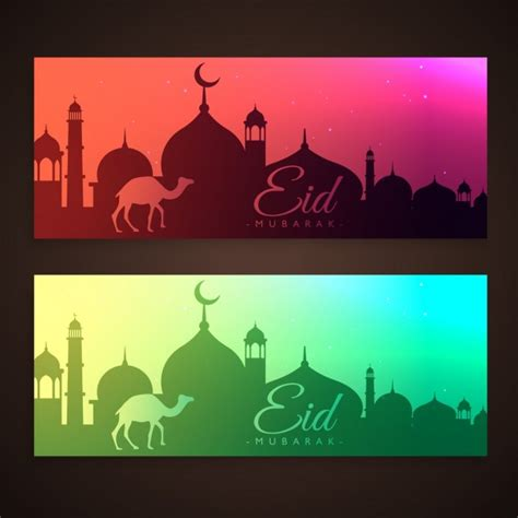 design banner islamic holy islamic eid festival banners vector free download