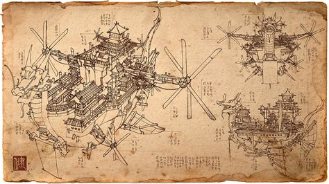 Draw House Plans Online Free imperial airship blueprint drawing by james ng