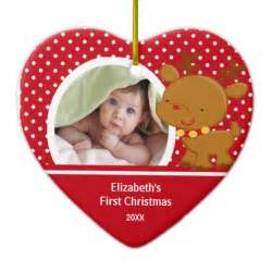 baby s first christmas photo ornament reindeer zazzle