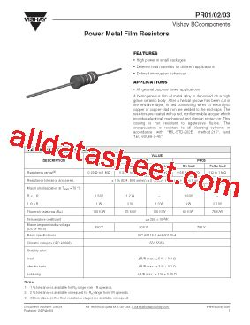 resistor pr02 datasheet pr02 datasheet pdf vishay siliconix