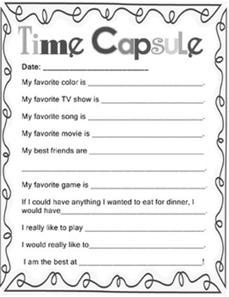 printable time capsule sheets end of year school days memory book time capsule grades