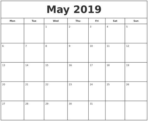 printable online calendar 2019 may 2019 print free calendar