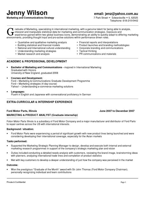 marketing cv exle graduate communication marketing manager resume sle cleaning business