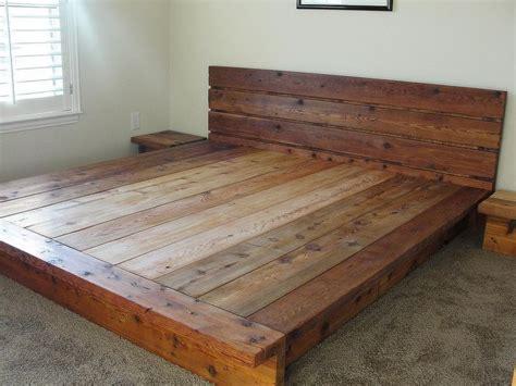 king rustic platform bed  cedar wood