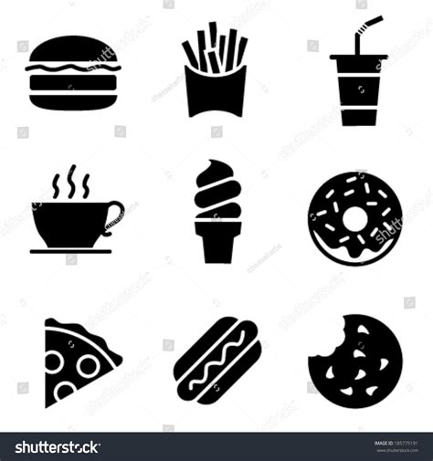 food vector simple black white fast food icons stock vector 185775191