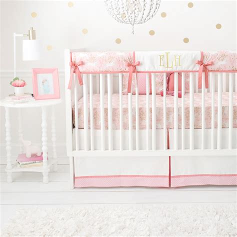 unicorn crib bedding pink baby bedding palm leaf print u0026 blush pink baby
