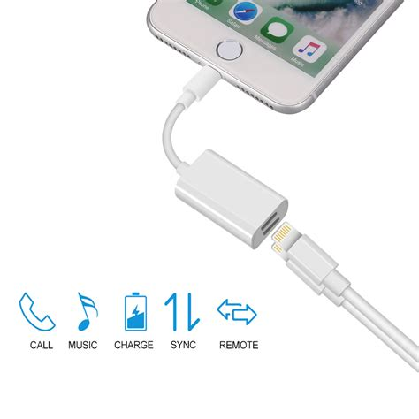 Conventer Iphone Sambungan Earphone Iphone 7 Plus Kabel Konektor dual lightning adapter headphone audio cable charger splitter for iphone 7 plus ebay
