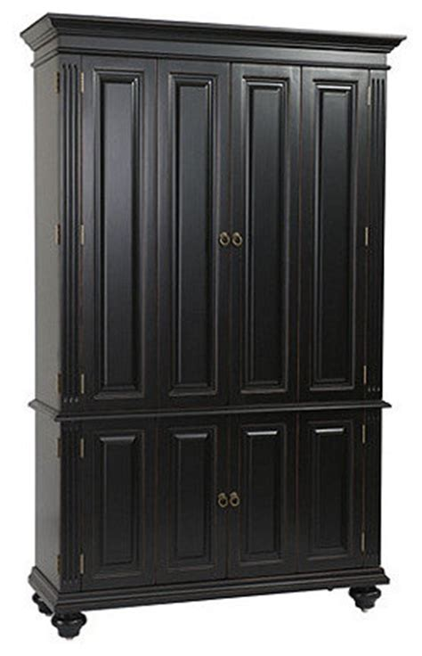 slim armoire slim chadwick media armoire rubbed black traditional