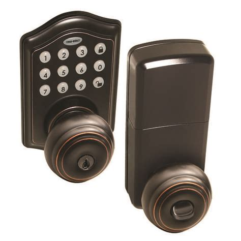 Tru Bolt Door Knobs by Tru Bolt 174 Rubbed Brass Electronic Entry Touchpad With