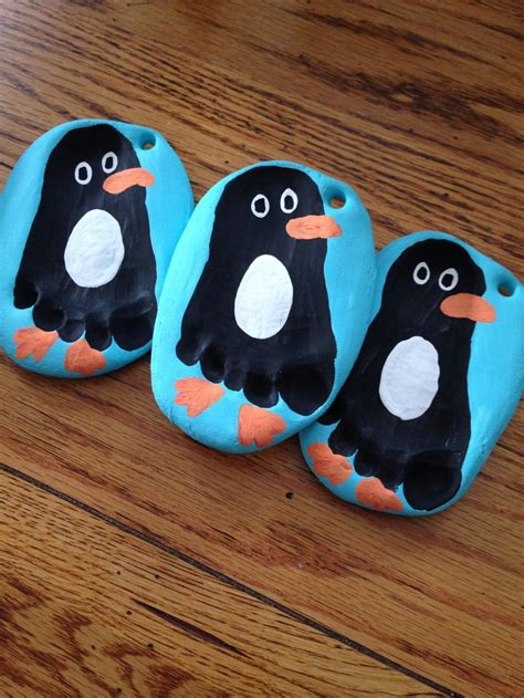 penguin footprint ornaments christmas homemade toddler