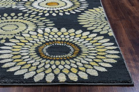 Sunflower Area Rug Sorrento Sunflower Medallion Area Rug In Charcoal Gray Khaki 7 10 Quot X 10 10 Quot
