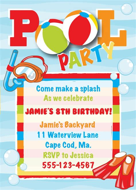 Pool party birthday invitations for a artistic party invitation design