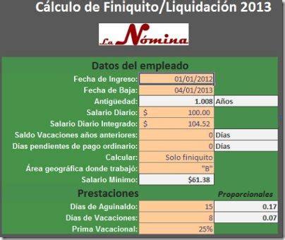 calculo de liquidacin en excel 2016 calculadora finiquito liquidaci 243 n 2013 empleados el