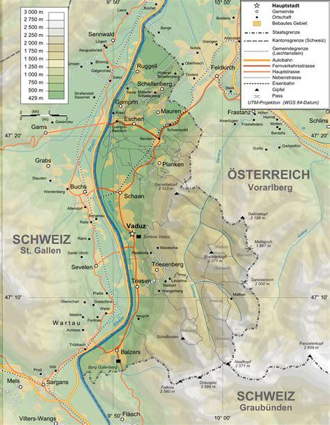 where is liechtenstein on a map maps of liechtenstein detailed map of liechtenstein in