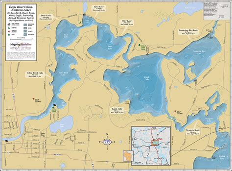 eagle river chain northern lakes wall map