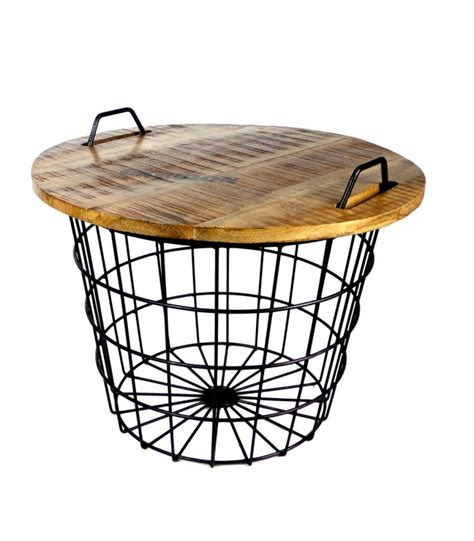 grande table basse ronde industrial coffee table made of wood and metal flexo wadiga