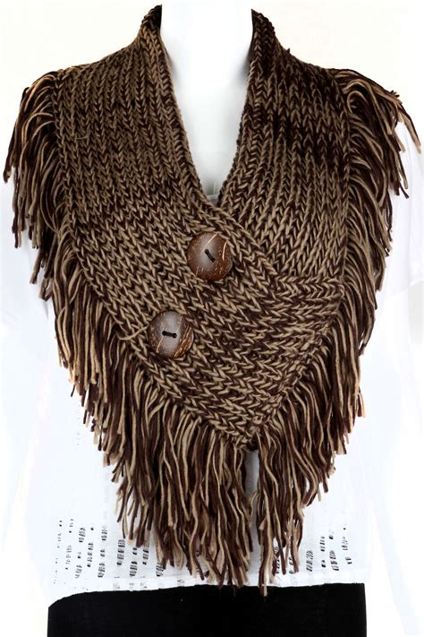 knit fringe knitted button infinity fringe scarf scarves
