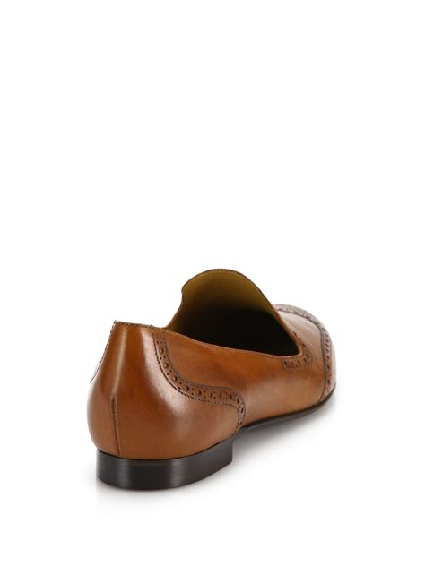 ralph leather loafers ralph quincy leather loafers in brown lyst
