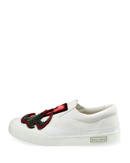 Sneaker Slip On Miu Miu 7346 miu miu leather embellished slip on sneaker white modesens