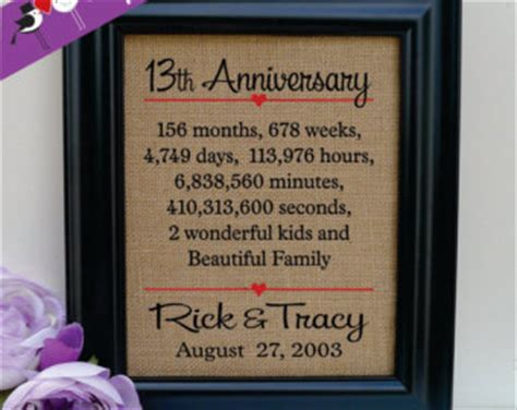 12th Wedding Anniversary Gift For by 13th Anniversary Etsy