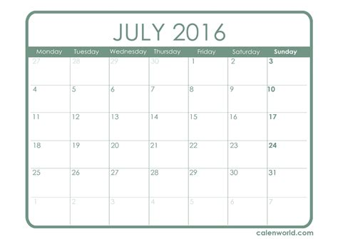 printable planner july 2016 july 2016 calendar printable one page 2017 printable