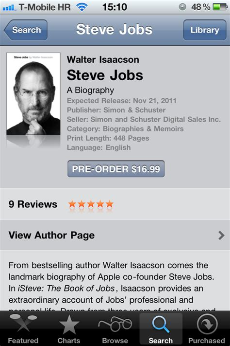 steve jobs authorized biography itunes updates authorized steve jobs biography with price