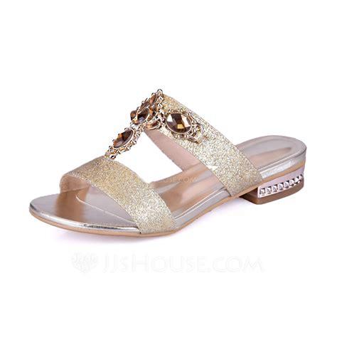 heel slippers sparkling glitter low heel sandals flats peep toe slippers