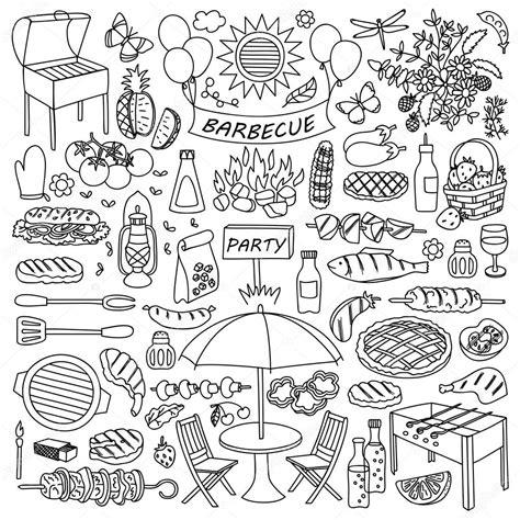 doodle jeu barbecue jeu de doodle image vectorielle 101606404
