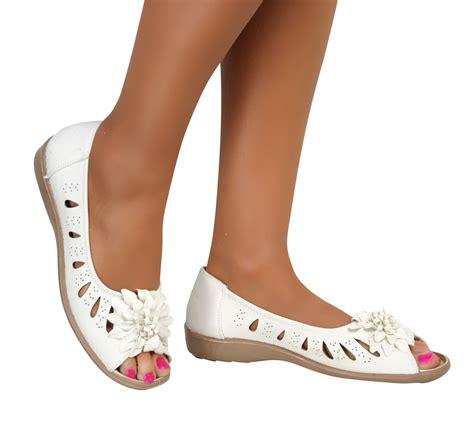 comfortable booties heels ladies wide fit flat low wedge heel peep toe comfort slip
