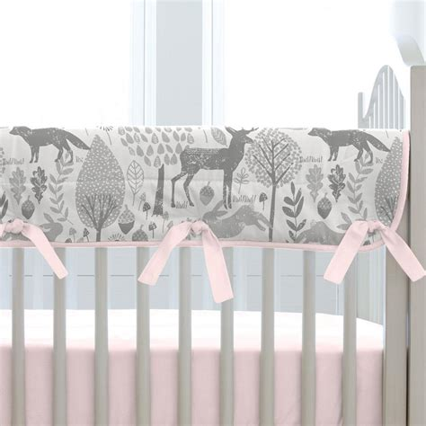 Pink And Gray Woodland Crib Bedding Carousel Designs Woodland Crib Bedding