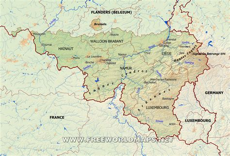 geographical map of belgium wallonia physical map